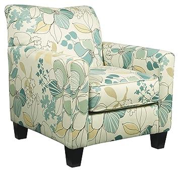 Strange Ashley Furniture Signature Design Daystar Accent Chair Contemporary Floral Pattern Seafoam Interior Design Ideas Ghosoteloinfo