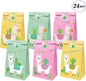 Llama Party Favor Bags Llama Cactus Gift Bags Mexico Fiesta Cinco de Mayo Goodie Treat Bags Themed Baby Shower Birthday Party Supplies, Set of 24