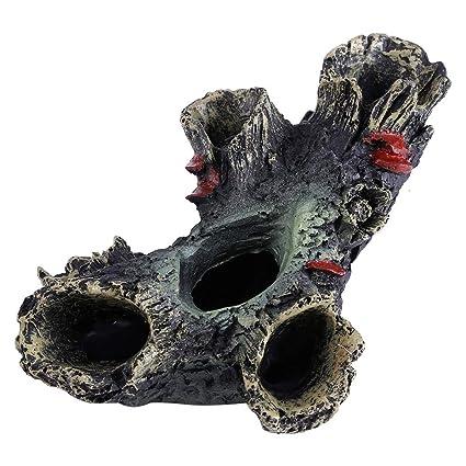 Hanyoug Resina Artificial Aguamarina Acuario Pescado de Madera Muerta para Evitar la decoración del Ornamento del