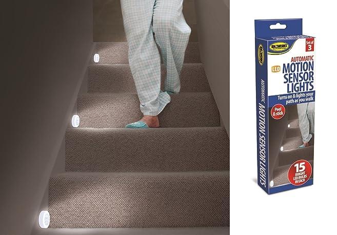 LED Stair Lights Set Of 3 Motion Sensor Stair Lights Hallway Light Night  Light