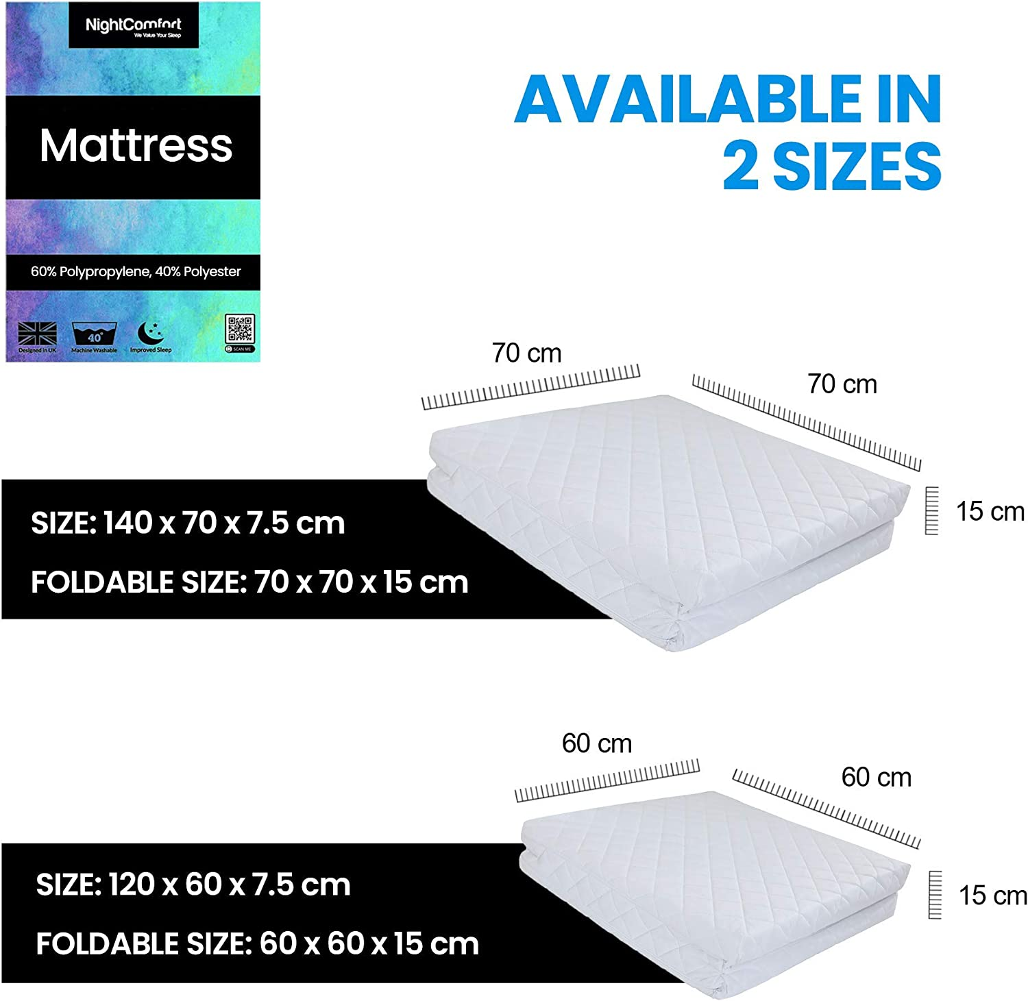 140x70x7.5cm// 70x70x15cm NightComfort Foldable Baby and Toddler Travel Cot Bed Mattress Breathable Quilted and Waterproof