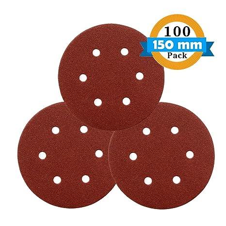 GORCHEN Sanding Discs 6inch 150mm Sander Pads Sheets 240 180 100 80 320 600 Grits 6-Holes Sandpaper Assorted for Random Orbital Sander Total 100 Pieces 400 120 60 Hook and Loop 40