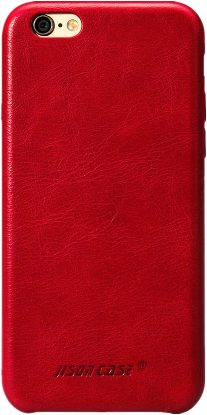 JISONCASE iPhone 6s Plus Case Genuine Leather Hard Back Case Slim Fit Protective Cover Snap on Case for iPhone 6 Plus/ 6s Plus [Red]- JS-I6U-01A30