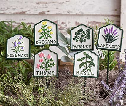 Set of 4 Rectangle Shaped Farmhouse Style Metal Herb Stakes Garden Plant Markers Rosemary Thyme Basil Sage Herbs