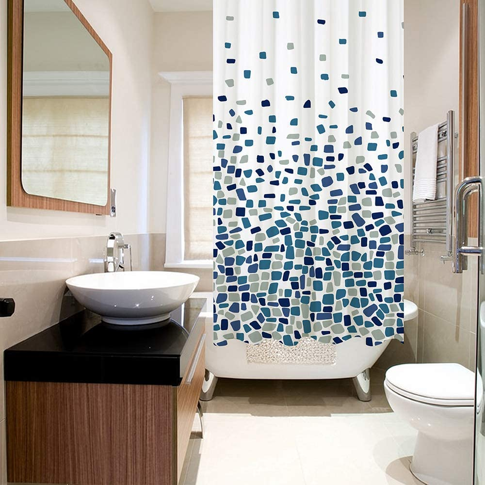 Blue Mosaic Patterned | 100/% Polyester ANSIO Shower Curtain Mould and Mildew Resistant 180 x 180 cm 71 x 71 Inch