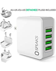 SPLAKS USB Charger, Universal International USB Wall Charger Plug UK/EU/US/AU 4 Ports Rapid 24W/5V 4.8A Multiple USB Charger with Multi-Protections Fast Charging Technology-White