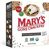 Mary's Gone Crackers Black Pepper Crackers, Organic Brown Rice, Flax & Sesame Seeds, Gluten Free, 6.5 Ounce (Pack of 1)