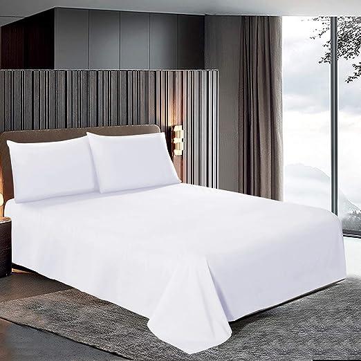 Imperial Rooms, sábana encimera Blanca de 200 Hilos, 100% algodón ...