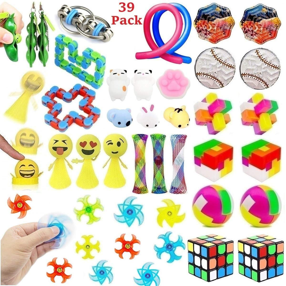 39 Pack Fidget Toys Bundle for Kids and Adults, Sensory Toys Set for Stress Relief and Anti-Anxiety, Sensory Fidget Hand Toys for ADD ADHD Autism, School Supplies for Autistic Children by SpringFly