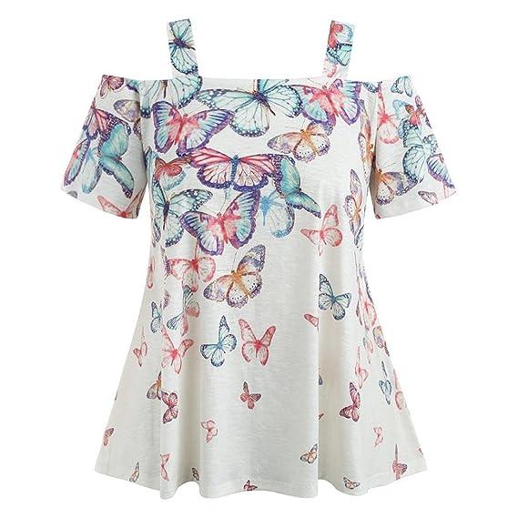 ❤ Camiseta Mujer Talla Grande, Blusa de Las Blusas de Mariposa de Hombro Abierto Absolute: Amazon.es: Ropa y accesorios