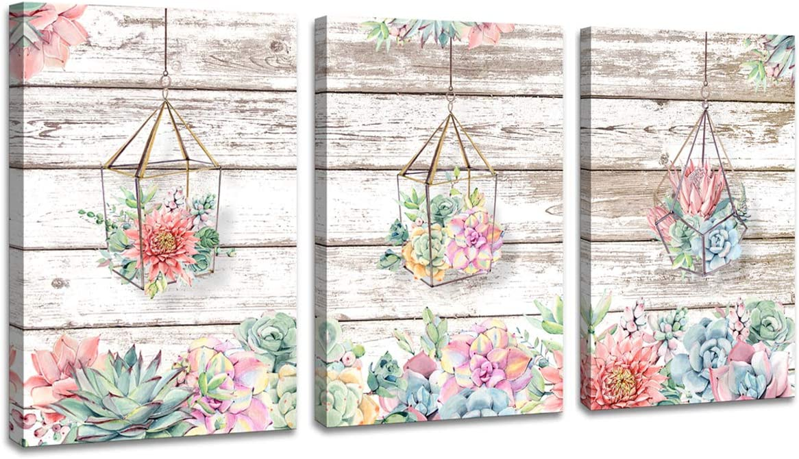 3 Pieces Succulents Flowers Wall Art Picture Floral Blooming Canvas Prints for Bathroom Wall Decor Vintage Wooden Board Simple Watercolor Artwork Painting for Kitchen Bedroom Home Decoration