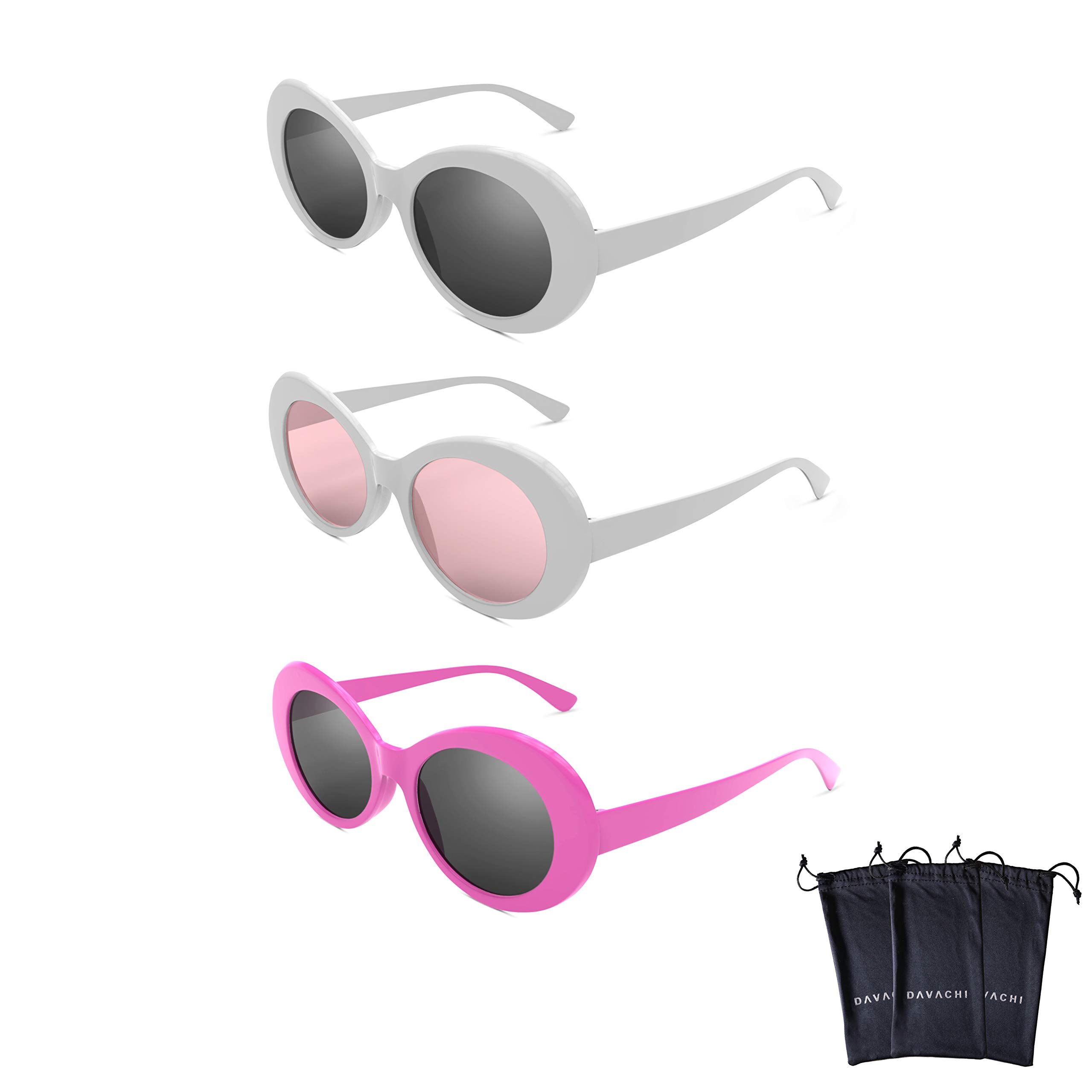 Davachi Clout Goggles Set With Cases Kurt Cobain Oval Sunglasses White, Pink, Pink Lense