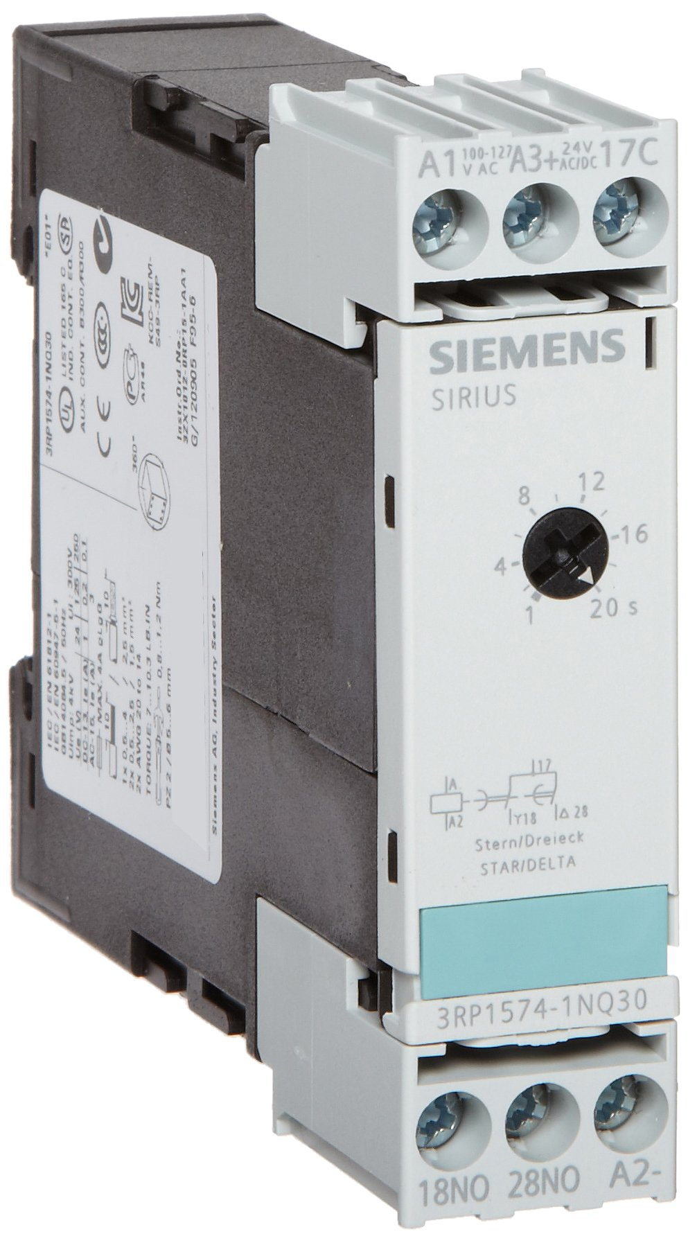 Siemens 3RP1574-1NQ30 Solid State Time Relay, Industrial Housing, 22.5 mm Wide, Screw Terminal, Star-Delta Function, 1 NO + 1 NO Contact Elements, 1-20s Time Range, AC/DC 24, 100-127 VAC Control Supply Voltage