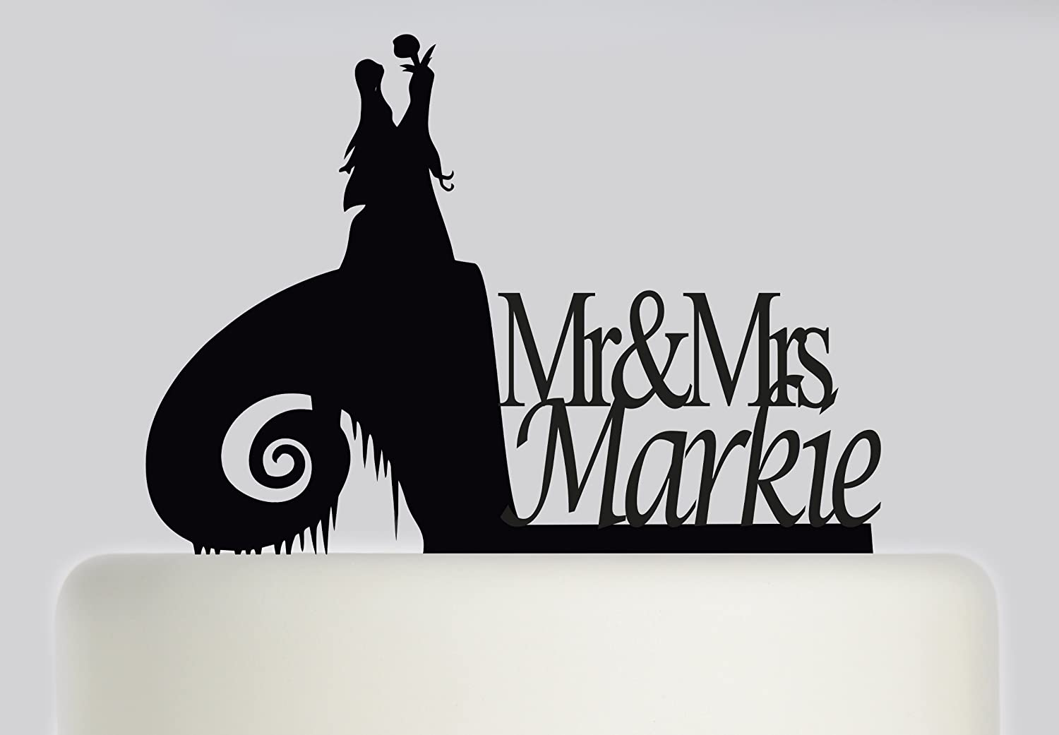 Large Wedding Cake topper Bride and Groom The Nightmare Before Christmas. Jack Skellington and Sally .personalised with your surname. Ideal handmade wedding cake decoration, wedding party Acrylic cake topper MR & Mrs Cake topper, Available in Gold Mirror,