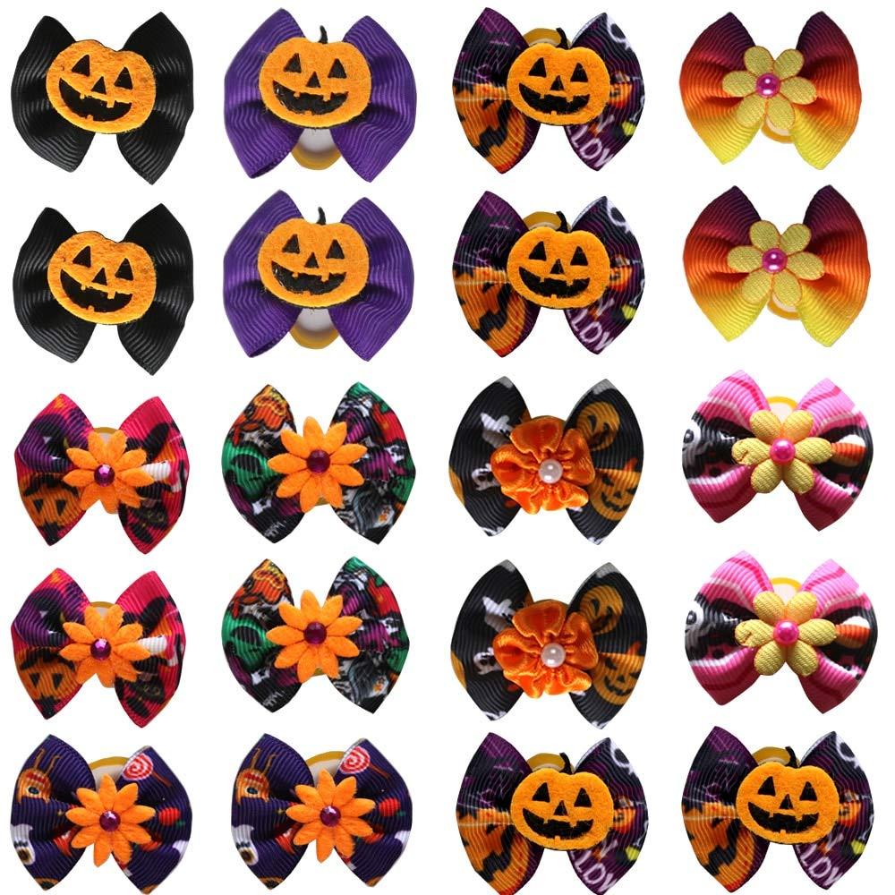 50pcs Fall Pet Supplies Halloween Pet Dog Hair Bows Handmade Pumpkin Skull Pet Hair Accessories Dog Holiday Grooming Products