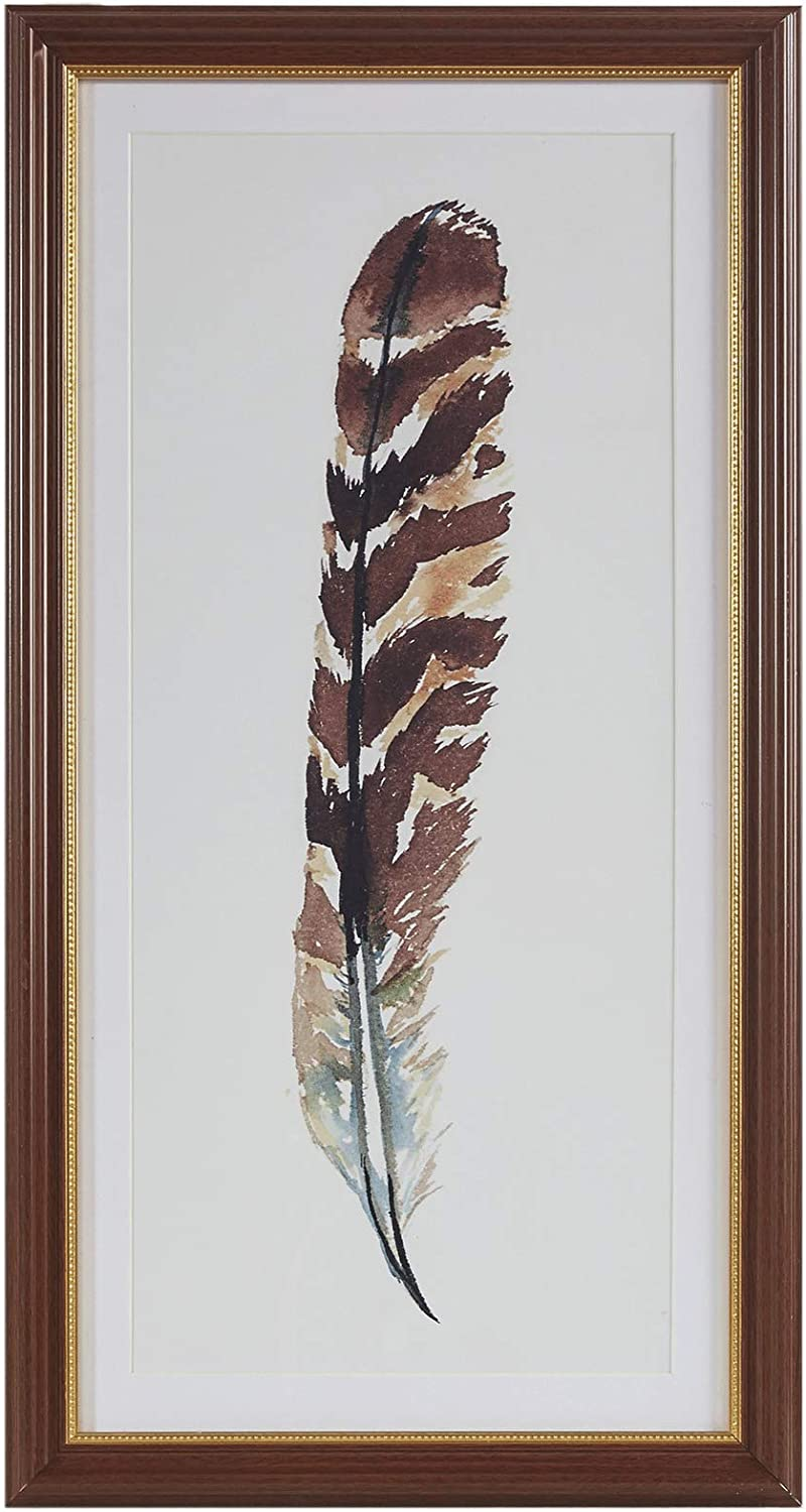 "MARTHA STEWART Wind Feather I Wall Art Living Room Glass Framed Print, Single Mat Home Accent Modern Bathroom Decoration, Ready to Hang Poster Painting for Bedroom, 14"" X 26"", Multi-Color"