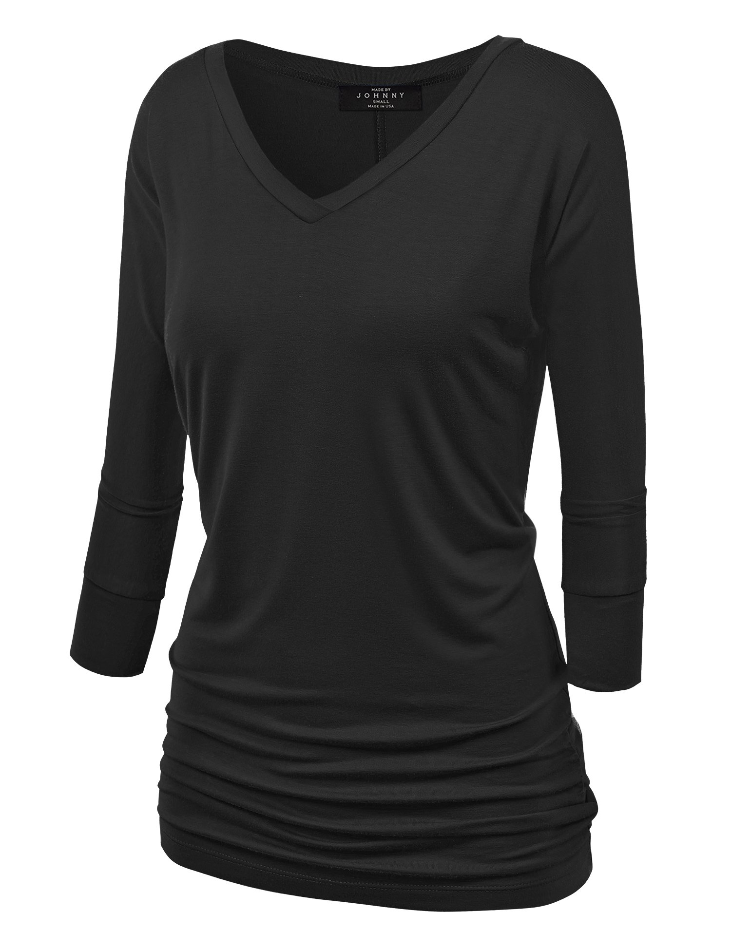 Made By Johnny WT1036 Womens V Neck 3/4 Sleeve Dolman Top with Side Shirring L Black