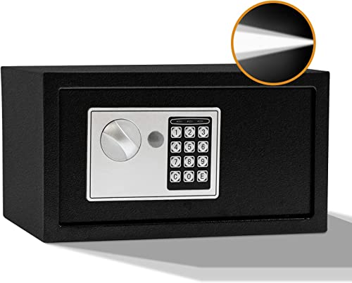 SamYerSafe Safe Box with Sensor Light,0.42 Cubic Feet Security Safe with Electronic Digital Keypad Money Safe Steel Construction Hidden with Lock Wall or Cabinet Anchoring Design for Office Home Hotel