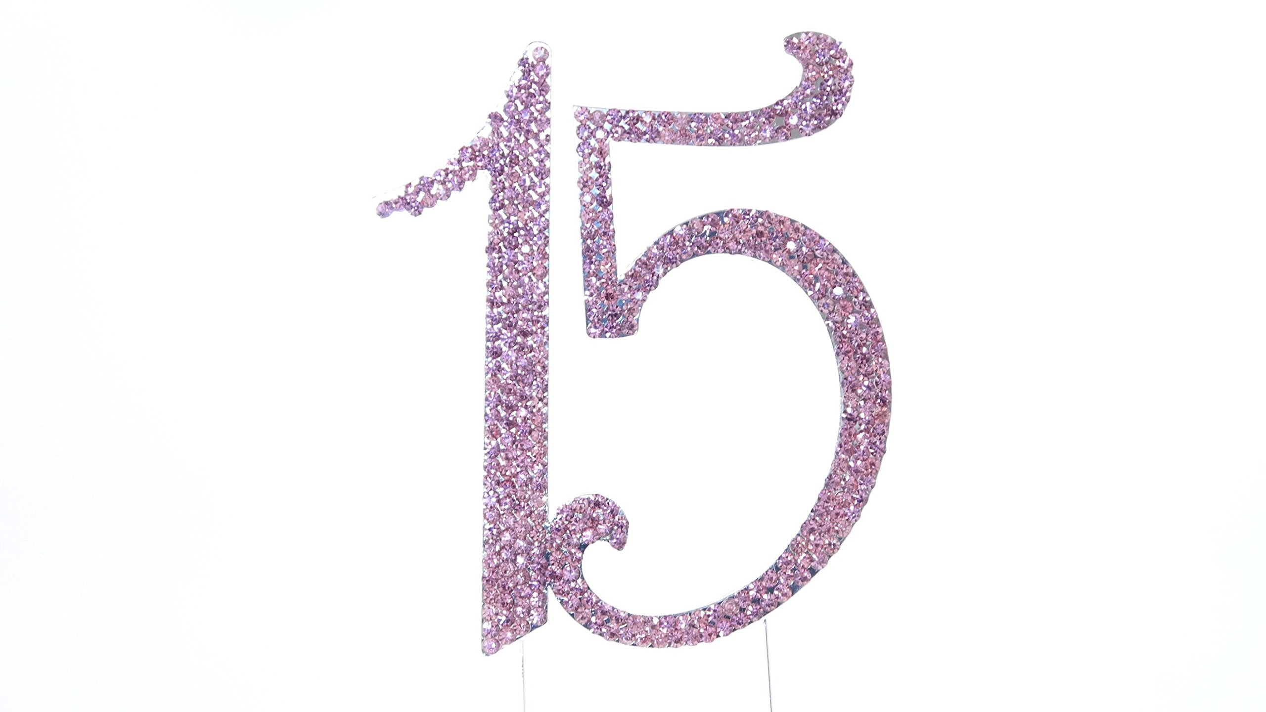 Coolest Bear 15 Pink Rhinestone Crystal Cake Topper Silver, Numbers, Letters for Wedding, Birthday, Anniversary, Party. Shine & Sparkles. RHINESTONE. BEST OFFER ON AMAZON. (15 PINK)