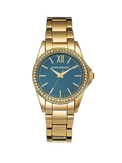 Mark Maddox - Reloj de cuarzo para mujer con esfera analógica de color azul y oro