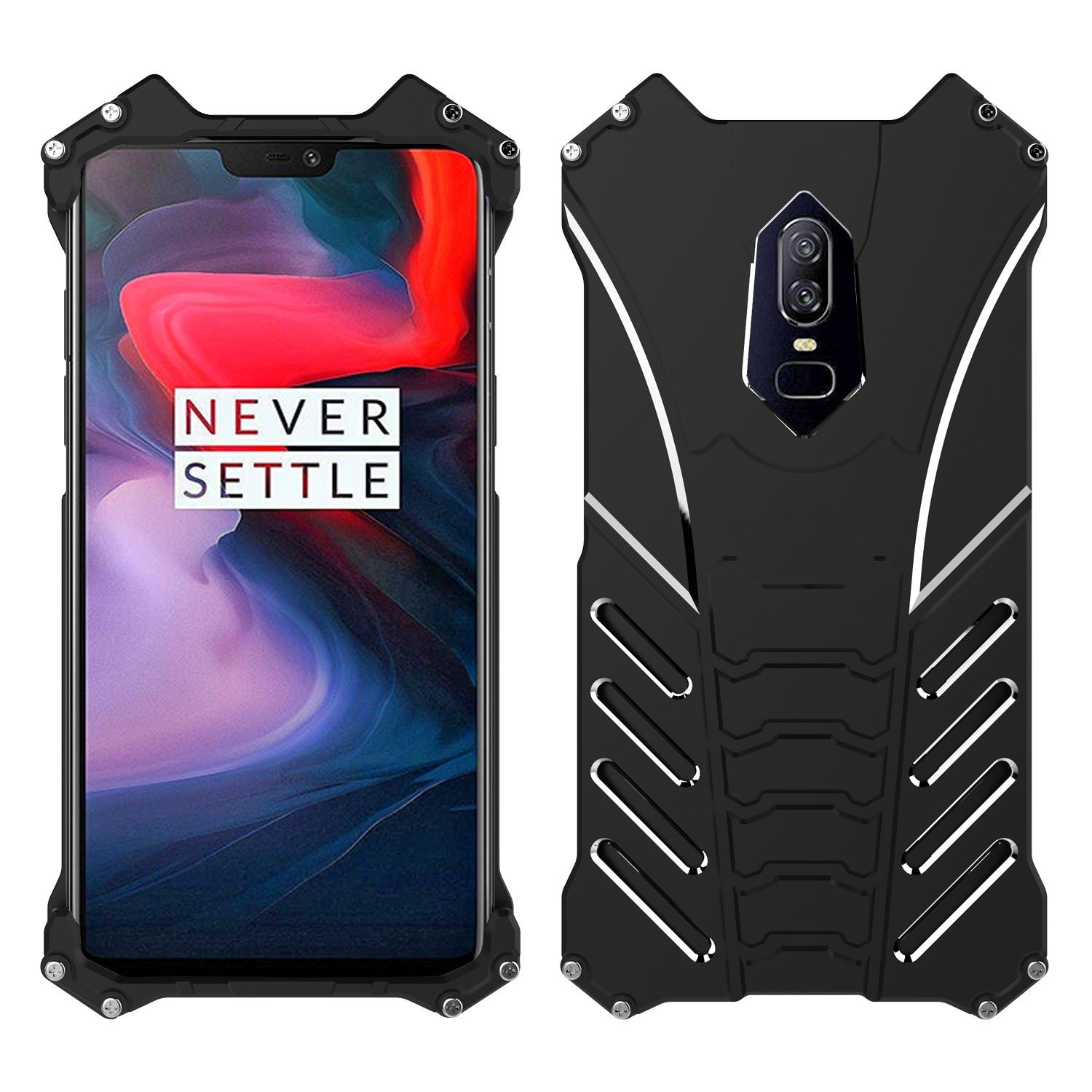 reputable site ee41e 681b8 Simicoo OnePlus 6 Aluminum Metal Bumper Case Military Shockproof Heavy Duty  Armor Rugged Tough Slim Cool Outdoor sport Hybrid Cover For One plus 6 1+6  ...