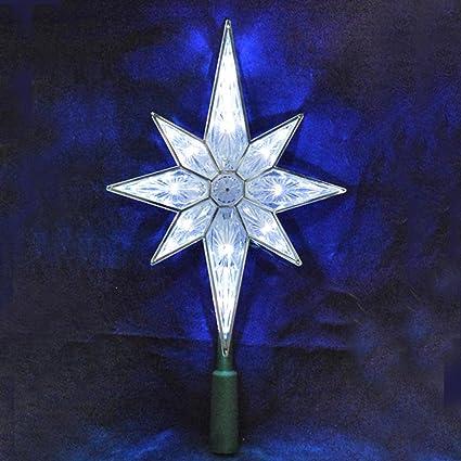 10 5 Led Lighted 8 Point Star Of Bethlehem Christmas Tree Topper Pure White Lights