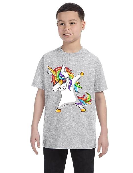 f2509246f Amazon.com: Allntrends Kids Youth T Shirt Dabbing Unicorn Cute Girly Dancer  Tee Rainbow Dab: Clothing