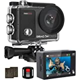 Dragon Touch 4K Action Camera Touch Screen 16MP Vision 3 Pro PC Web Camera 100 feet Waterproof Camera Adjustable View Angle W