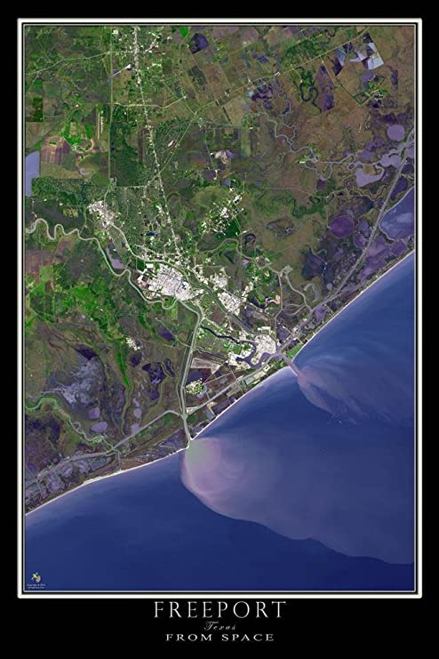 Amazon Com The Freeport Texas Satellite Poster Map L 24 X 36 Inch