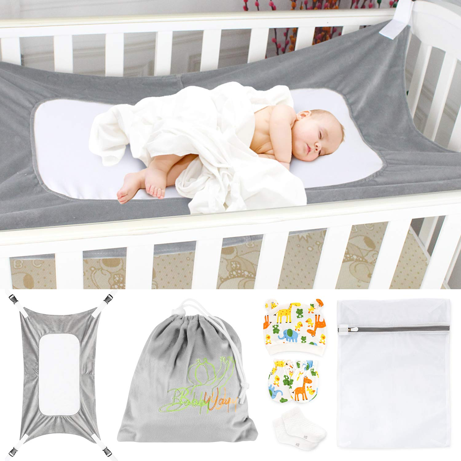 Baby Crib Hammock, Like Womb, Infant Hammock Bed, Enhanced Safety Features, Very Soft Fabric, Newborn Nursery Bed, Plus BabyWay Gift Bag by The BabyWay