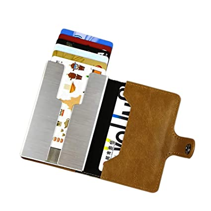 sciuU Cartera Tarjeta de Crédito/Portatarjetas de Visita, Bloqueo RFID, Cartera de Aleación de Aluminio Multiuso Bolsillos, Cuero PU Exterior, Puede ...