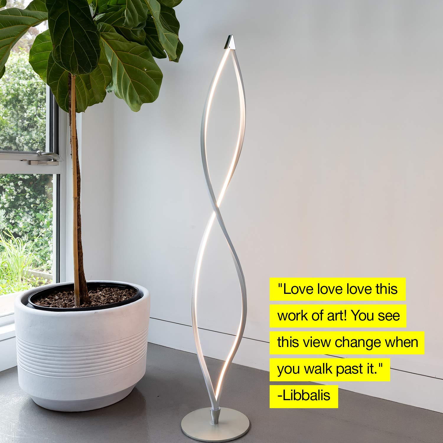 Brightech Twist - Modern LED Living Room Floor Lamp - Bright Contemporary Standing Light - Built in Dimmer Switch with 3 Brightness Settings - Cool, Futuristic Lighting - Silver by Brightech (Image #6)