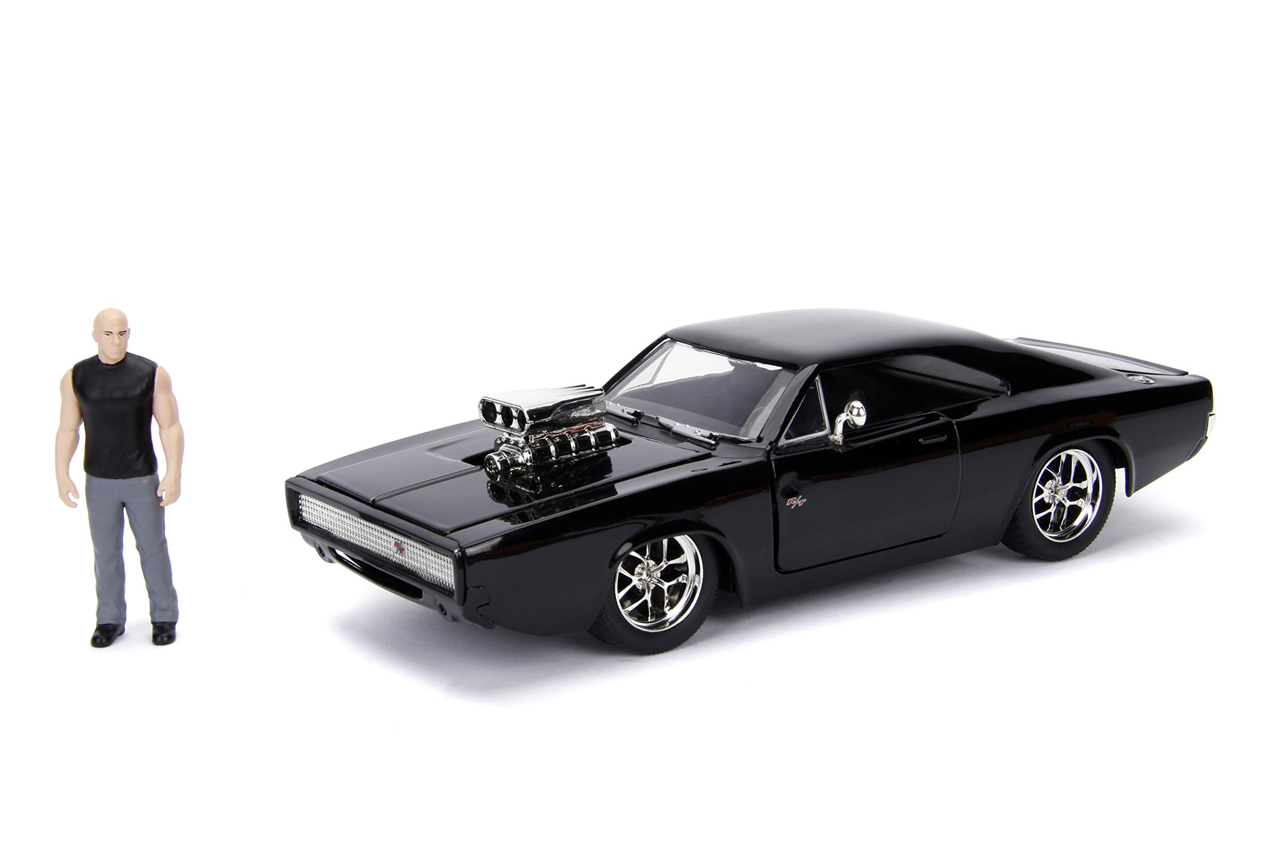 Jada Toys Fast & Furious Dom & Dodge Charger R/T, 1: 24 Scale Black Die-Cast Car with 2.75'' Die-Cast Figure