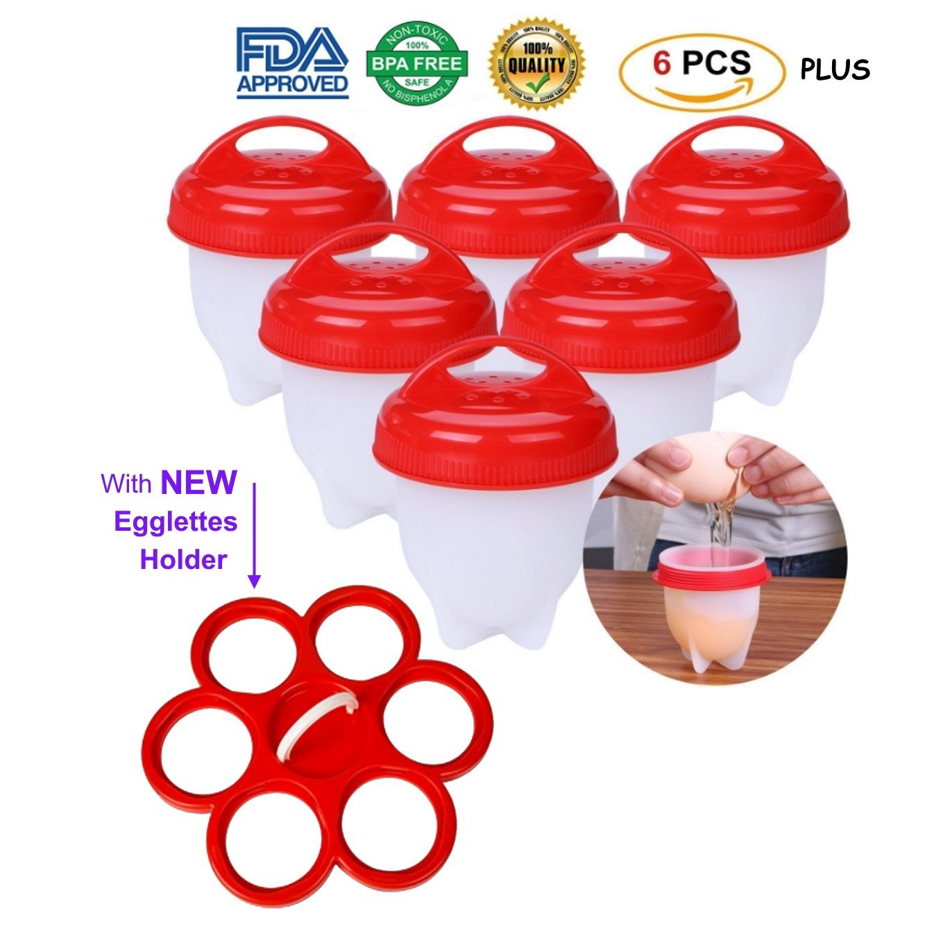 Get Egglettes Silicone Egg Cooker, Hard Boiled Egg maker-cookers-boiler egglette products AS SEEN ON TV, (aka: egglet, eggettes, eglettes, eggletes, eggelettes, egglett, eggless, egglets, eggies)