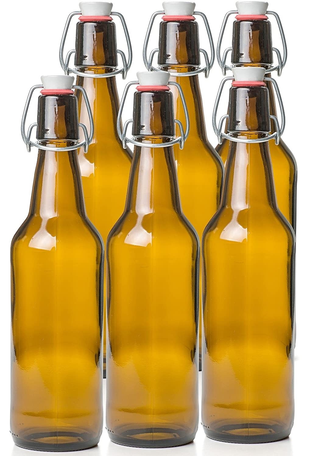 16 oz Set of 6 EST2661 Estilo Swing Top Easy Cap Glass Beer Bottles Amber