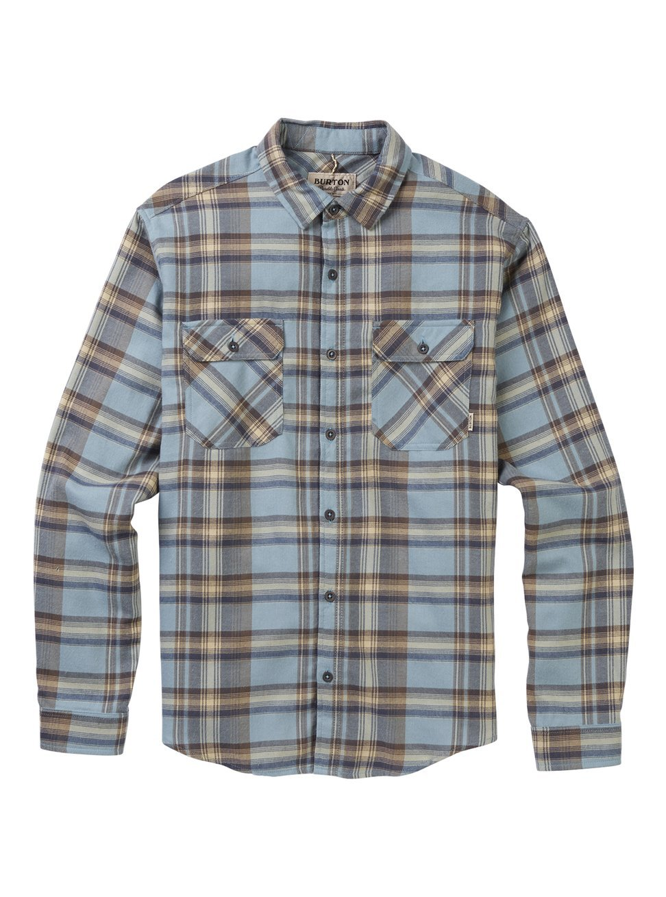 Winter Sky Stella Plaid Small Burton Men's Brighton Flannel Down Shirt, True Black Heather Buffalo W17, Large