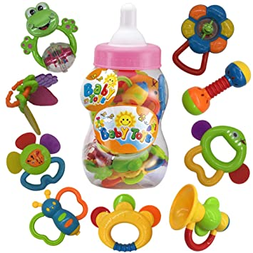 Juguetes de mordedor para bebé sonajero Conjunto primeros sonajeros para bebé Conjunto de regalo para bebé bebés primer bebé 9 piezas (Rosa): Amazon.es: ...