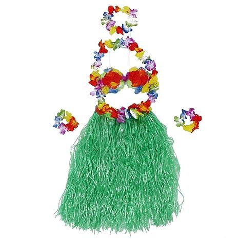 SODIAL(R) 5pcs kit hawaiana falda de hierba con flores Hula Lei ...