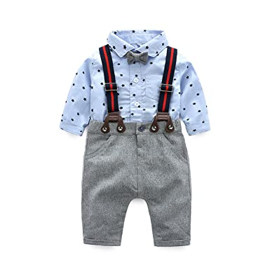 92a1b3a2d Newborn Baby Boys Long Sleeve Onesie + Bib Overalls + Suspenders+Bowtie  Clothing Set,