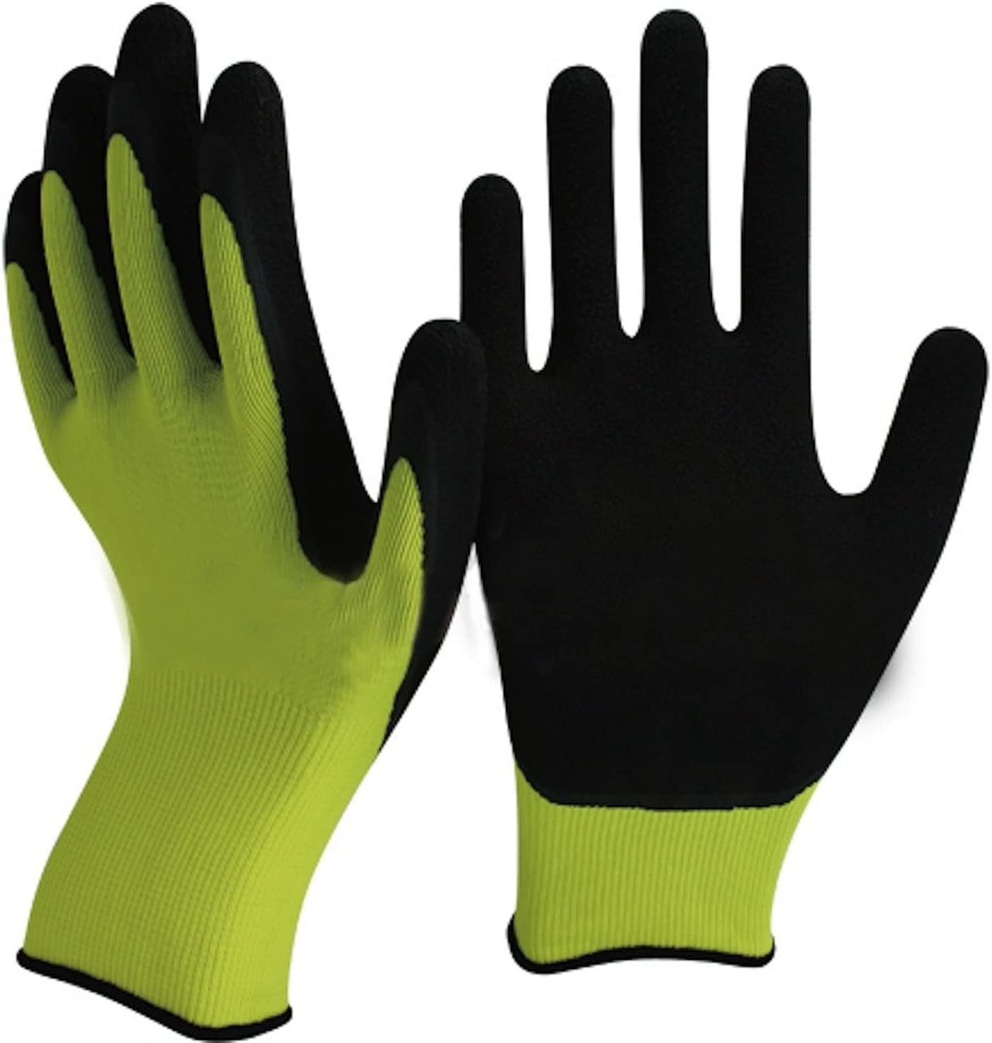 Espuma de l/átex Especialista en los Consejos de palma y dedos para m/áxima destreza Small x 12 Disponible en singles o paquetes de 12 pares Guantes verdes y Negro Latex jardiner/ía
