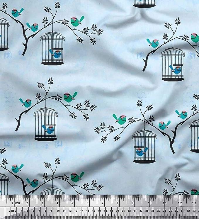 Soimoi Azul seda Tela Ramas, y la jaula pajaro tela estampada de 1 ...