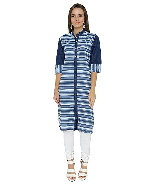 3edf6eeaa7d Shokhi Kurti for Women - Half Sleeve Striped Kurti - Knee Length Kurti -  Stylish Party Wear Kurti for Ladies - Traditional Wear for Women   Amazon.in  ...