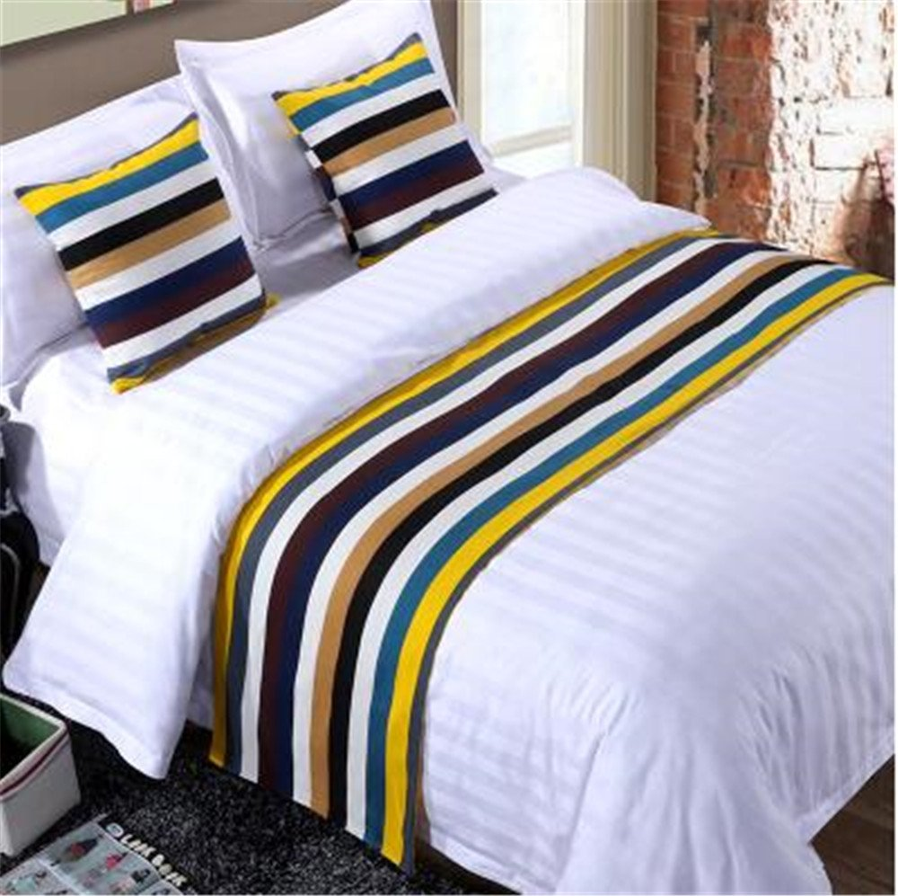 YIH Bed Runner Colors Stripe Cushion Cover, Luxury Hotel Wedding Room Bedroom Decorative Bed End Scarf Protector Slipcover Pad Pets, 62 inches 19 inches
