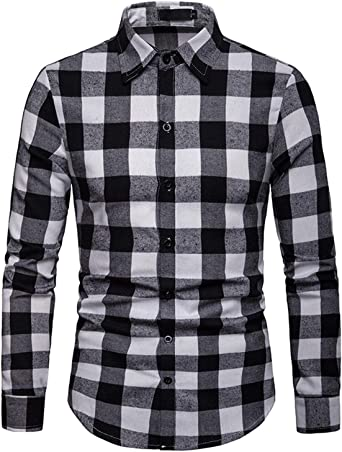 JOLIME Camisa Hombre Cuadros Blanco y Negro Manga Larga Elegante Casual Trabajo Blusas Negro XL: Amazon.es: Ropa y accesorios