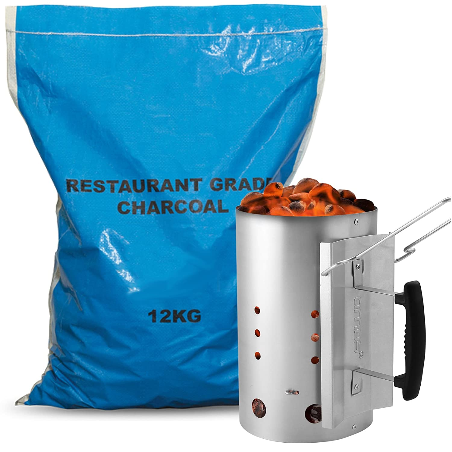 AMOS Chimney Starter 2.8kg Capacity Barbecue Quick Start + 12kg Restaurant Grade Lump Wood Charcoal