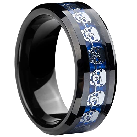 8mm infinity black blue tungsten wedding ring silver skull skeleton inlay girls jewelry size 5 - Black And Blue Wedding Rings
