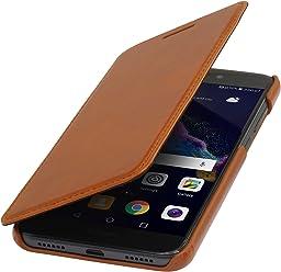 StilGut Book Type sans Clip, Housse en Cuir pour Huawei P8 Lite (2017). Etui de Protection de Cuir véritable à Ouverture latérale, Cognac