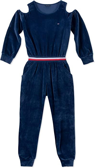 fb804568 Tommy Hilfiger Big Girl's Big Girls' Printed Jumpsuit Pants, flag blue,  Small (