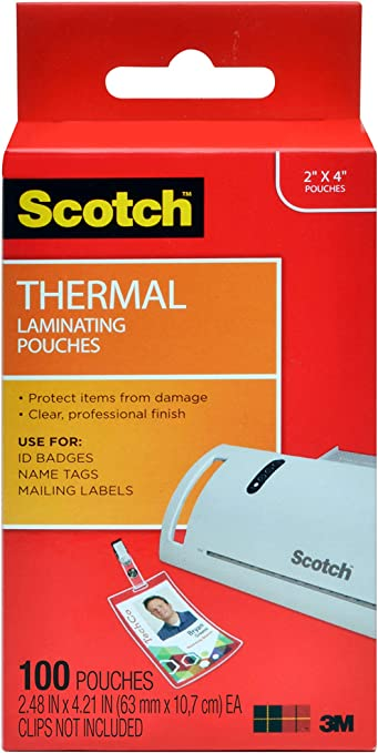 Scotch Thermal Laminating Pouches, 5 Mil Thick for Extra Protection, Professional Quality, 2.4 x 4.2-Inches, ID Badge without Clip, 100-Pouches (TP5852-100)