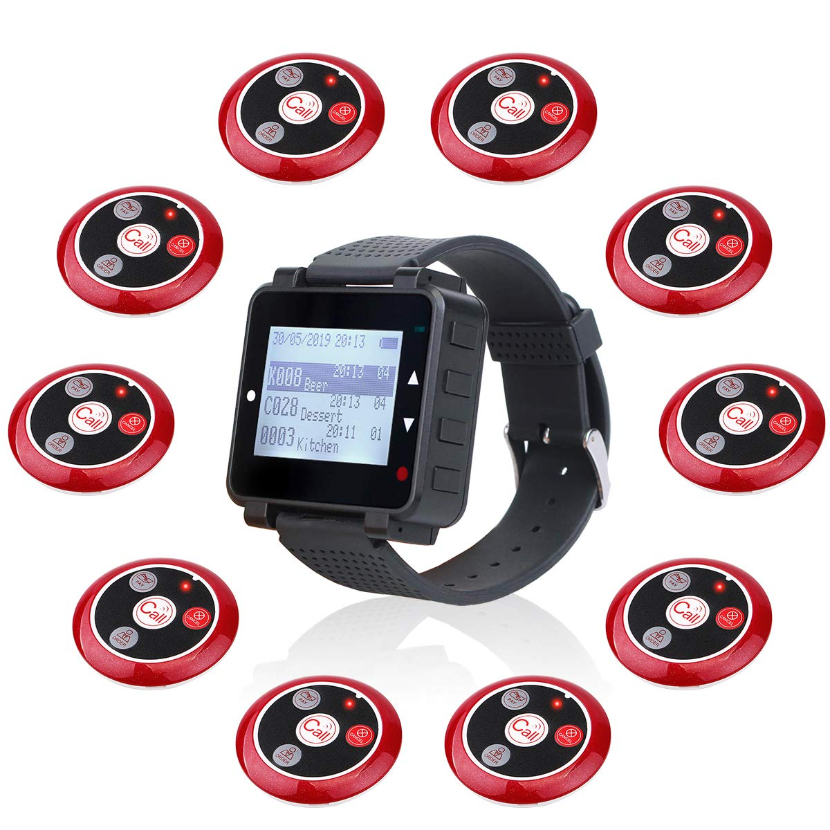 Retekess T128 Restaurant Pager System Vibration Buzzer Customise Waiter Calling System Watch Pager (Black,1 Pack) and 4-Key Call Button (Red,10 Pack) by Retekess